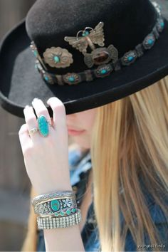 Shy Girl in a vintage Linda Madden Velour hat with vintage Navajo pins. Look how great the  1950's  rhinestone bracelet looks with the 1930's silver & turquoise!