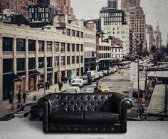 The hues of the Streets of New York Wall Mural are subtle yet bold with rich colors.