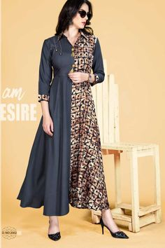 Grey-Half-Printed-And-Half-Plain-Rayon-Quater-Sleeves-Gown-Style-Kurthi-2002-30363 Catalog No : 5973 WWW.LKFABKART.COM #wholesalekurtis #wholesalekurtisupplier #kurtisdealers #kurtiexporters #kurtimanufacturer #kurtistockist #fancy #festivewear #eventwear #kurti #factoryrates #worldwide #lkfabkart Model Dress Batik, Batik Dress, Kurti Designs Party Wear, Kurta Designs, Stylish Office Wear, Frock For Women, Vintage Street Fashion, Ladies Fancy Dress, Batik Fashion