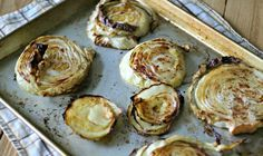 Garlic Rubbed Roasted Cabbage Steaks 1 (approx head of organic green cabbage, cut into thick slices tablespoons olive oil 2 to 3 large garlic cloves, smashed kosher salt freshly ground black pepper spray olive oil OR non-stick cooking spray Side Dish Recipes, Low Carb Recipes, Real Food Recipes, Cooking Recipes, Yummy Food, Healthy Recipes, Side Dishes, Healthy Snacks, Vegetable Dishes