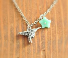 Humming Bird Necklace  silver humming bird necklace by MegusAttic