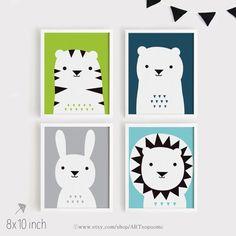Arte de vivero para imprimir Set de 4 cartel oso conejo León