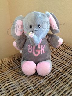 Monogrammed Stuffed Elephant. Stuffed animal by GentrysCloset, $30.00 Stuffed Elephant, Elephants, Teddy Bear, Monogram, Sewing, Toys, Unique Jewelry, Handmade Gifts, Baby