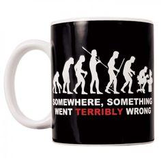 Evolution Something Went Wrong Mug  on Yellow Octopus #giftsformen #gifts #evolution #wrong #mug #coffee #tea