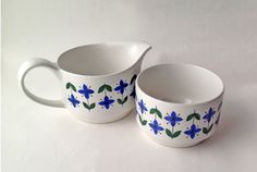 Midwinter Milk Jug and Sugar Bowl. Roselle Pattern Blue and Green Floral Pattern on White. 1960s creamer and bowl by gardenfullofVintage on Etsy