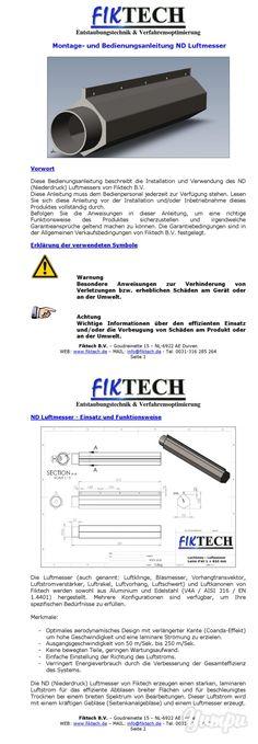 Luftmesser_Fiktech.pdf - Magazine with 10 pages: Luftmesser - Luftklinge - Luftkanone (Blasmesser, Vorhang, transvektor, transvector, Luftstromverstärker, Luftrakel, Luftvorhang, Luftschwert)   zum Kühlen, Reinigen, Abblasen, Trocknen und mehr!