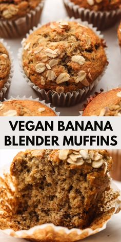 These Healthy Blender Banana Muffins are moist, fluffy and so easy to make in under 30 minutes. Vegan, low in sugar, gluten free and oil free! Vegan Banana Muffins, Healthy Muffins, Healthy Desserts With Bananas, Gluten Free Vegan Banana Bread, Vegan Breakfast Muffins, Eggless Muffins, Vegetarian Muffins, Low Calorie Muffins, Healthy Dessert Recipes