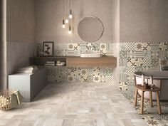 The collection is embellished by a mix of 9 decorated cement tiles, with nuances balanced in their intensity, and by a mix of  majolica tiles having a tactile surface consisting of matt and glossy contrasts. A single decoration was chosen from both mixes of cement and majolica tiles to create strongly characterized decorative surfaces having huge aesthetic impact. White Marble Bathrooms, Tiny Bathrooms, Vintage Bathrooms, Bathroom Design Luxury, Bath Design, Home Interior Design, Wall And Floor Tiles, Bathroom Layout, House Design