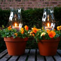 DIY decorating ideas for my backyard and patio - Ideas for clay pots - flower pot candle holder for the yard, deck or patio