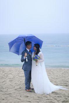 Acuatico beach wedding rain valentines day lace wedding dress Pia Gladys Perey grey gray suit bride groom
