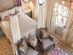 Designers Jackie Bayer and Sadie Sanchez of Amanda Austin Interiors created a feminine master suite with tons of texture, jewel accents and romantic details. Check it out at HGTV.com.