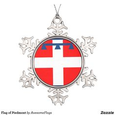 Flag of Piedmont Pewter Snowflake Decoration