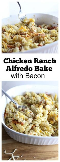 Creamy and delicious Ranch Chicken Alfredo with Bacon Bake that takes less than an hour to prepare and cook!  It's a family favorite and always on our menu! #CarpeDinner #PEPCID #ad