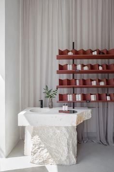 SOFI Natural Cosmetics Shop by Studio AUTORI | Shop interiors Espace Design, Interior Architecture, Interior Design, Cosmetic Shop, Cosmetic Stores, Tadelakt, Retail Interior, Retail Space, Commercial Design