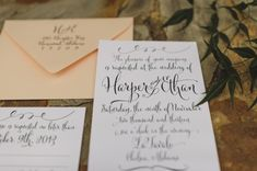 Modern Calligraphy Wedding Invitation | photography by http://spindlephotography.com
