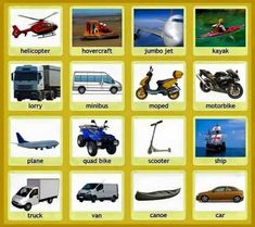 Common Vehicles and Modes of Transportation Vocabulary - ESLBuzz Learning English Learn English For Free, Learn English Grammar, English Fun, English Lessons, English Vocabulary, Learning English, Preschool Lessons, Kindergarten Worksheets, Visual Dictionary