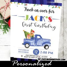 Vintage Blue Truck Christmas First Birthday invitations for boys. These beautiful Christmas first birthday invitations feature a vintage blue pickup truck carrying gifts, decorations and a green tree with a touch of black and blue buffalo plaid pattern and colorful Christmas lights across the top. The perfect boy birthday invitations for a truck, buffalo plaid lumberjack, winter or a Christmas holiday themed first birthday party. #christmasbirthday #holidaybirthdays