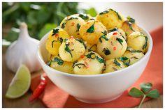 Aloo methi (potatoes and fenugreek) sabzi prepared and styled for a Kasoori Methi package photograph.