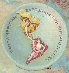 """mudwerks: """" Pan American Exposition Buffalo NY 1901 One of the most enduring symbols of the 1901 Pan-American Exposition is the image of North and South America symbolized by two women whose flowing. Buffalo Art, Buffalo New York, Lafayette Hotel, Erie County, Map Globe, Art Deco Posters, Buffalo Bills, Renaissance Art, World's Fair"""