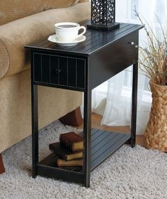 Wooden Thin Accent Side End Table with Shelf & Drawer Black NEW