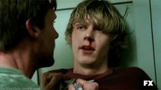 Your character finds colton sitting on the edge of an old sidewalk on a street long ago abandoned and he's nursing a bloody lip, bruised eye, and a hateful spirit. Ahs, Evan Peters Gif, Tate And Violet, Peter Maximoff, Comic, American Horror Story, Horror Stories, Celebrity Crush, Pretty Boys