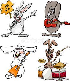 Vector: rabbits rock musicians set cartoon