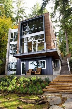 Container House - Container House - Shipping Container Homes That Are As Cozy As Regular Ones - Who Else Wants Simple Step-By-Step Plans To Design And Build A Container Home From Scratch? Who Else W (modern cottage exterior) Architecture Design, Amazing Architecture, Installation Architecture, Contemporary Architecture, Blender Architecture, Seattle Architecture, Contemporary Houses, Container Architecture, Contemporary Kitchens