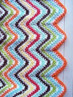 Cobertor de crochê em zigue-zague                              …