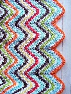 Colorful Cotton Single Crochet Zig-Zag Blanket