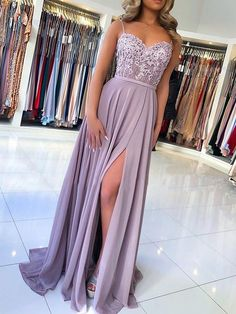 Blue Chiffon Slit Spaghetti Straps Prom Dresses,Long Evening Dress · Starry Girl Dress · Online Store Powered by Storenvy Pretty Prom Dresses, Straps Prom Dresses, Hoco Dresses, Lace Evening Dresses, Ball Dresses, Cute Dresses, Purple Prom Dresses, Light Purple Prom Dress, Elegant Dresses