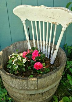 Recycle A Wire Barrel And A Chair Into A Flower Planter @loveofwhite