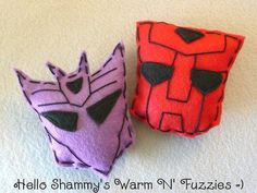 Transformers Inspired Set of Autobots & Decepticons Warm n' Fuzzies by HelloShammys on Etsy, $12.00