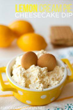 Guacamole Recipe Discover Lemon Cream Pie Cheesecake Dip Food Folks and Fun Lemon Cream Pie Cheesecake Dip recipe - 1 quick & easy 5 minute dessert! Lemon Desserts, Lemon Recipes, Just Desserts, Sweet Recipes, Dessert Recipes, Dessert Dips, Dip Recipes, 5 Minute Desserts, Lemon Cream Pies