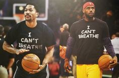 "During warmups before the Bulls-Warriors game, Chicago's Derrick Rose wore a t-shirt that said ""I can't breath."" LeBron James of the Cleveland Cavaliers also wore the shirt before his game against the Brooklyn Nets. This is the phrase Eric Garner shouted 11 times as a member of the NYPD choked him to death, December 2014. Black Men, Black And Brown, Oh The Humanity, George Zimmerman, Eric Garner, Taking A Knee, Warriors Game, Michael Brown"