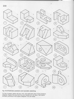 drafting practice iso to 3 view. Isometric Drawing Exercises, Isometric Art, Isometric Design, Really Cool Drawings, Interesting Drawings, Orthographic Drawing, Perspective Drawing Lessons, Architecture Drawing Sketchbooks, Graffiti