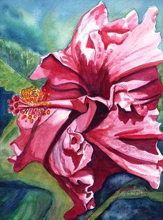 Tropical Hibiscus 6 Watercolor Painting Original from Kauai Hawaii hot pink blue red