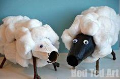 diy, haz ovejitas con rollos de papel