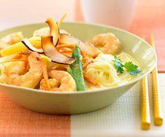 Curried Coconut Shrimp on Rice Stick Noodles
