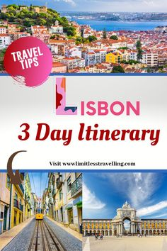Three days is enough to fully explore Lisbon. In these 3 days in Lisbon, Portugal you can visit the main tourist attractions, dive into the vibrant and colorful nightlife, taste delicious local cuisines and leave this amazing city with wonderful and unforgettable memories. Europe Travel Guide, Packing Tips For Travel, Travel Guides, Portugal Travel, Lisbon Portugal, Destinations, International Travel Tips, Worldwide Travel, Three Days