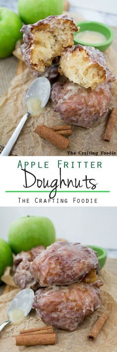 These Apple Fritter Doughnuts by /craftyfoodie/  are crisp on the outside, light and fluffy on the inside and enrobed in a thick, vanilla bean glaze. They're made with apple cider and are packed with chopped apples giving them a delicious, fresh apple flavor.