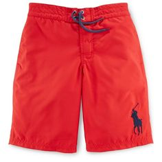 Ralph Lauren Boys\u0027 Solid Swim Trunks ($55) ? liked on Polyvore featuring  men\u0027s