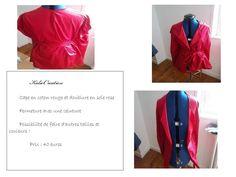 cape en coton rouge et doublure en soie rose 40 euros possibilité de faire d 'autre couleur et taille