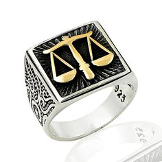 925 Sterling Silver Ring for Men with Libra