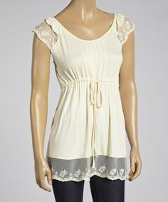 Natural Lace Cap-Sleeve Top ~ Simply Irresistible — up to 70% off ~ more colors & styles to choose from