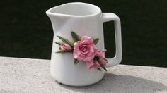 Pink Cold Porcelain Rose Decorated Ceramic Pitcher by doughroses