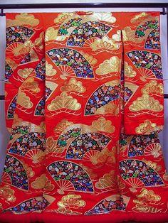 Vermilion Folding Fan Japanese Uchikake Wedding Kimono