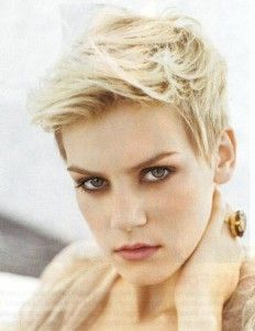 flipped up  blonde pixie