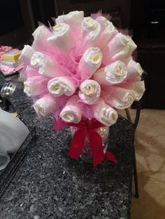 Baby shower diaper bouquet centerpiece