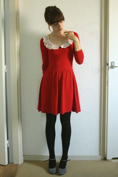 plain red dress - attach white collar - Minnie Mouse