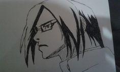 Tentando recriar o Ishida (de Bleach), a caneta e  no onibus.